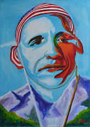 Barack Obama Painting Posters - The Eagle Soars Poster by David G Wilson