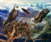 Bird Of Prey Art Prints - The Eagles Nest Print by Carol Cavalaris