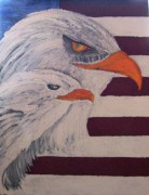 Patriotic Drawings Posters - The Eagles Poster by Roy Penny