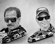 Sports Drawing Posters - The Earnhardts Poster by Bobby Shaw