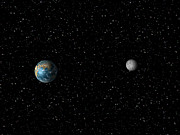 Man-made Photos - The Earth And Moon From Space (not To Scale) by Albert Klein