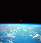 Space Exploration Photos - The Earth And The Moon Viewed From Space by Stockbyte