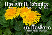 Flower Photos Posters - The Earth Laughs Poster by Extrospection Art