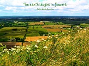 Emerson Quote Prints - The Earth Laughs in Flowers Print by Jen White