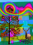 Wildlife Celebration Digital Art Prints - The Earth Rejoices series Deer and Basswood Print by Robin Jensen