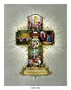 Jesus Framed Prints - The Easter Cross Framed Print by War Is Hell Store