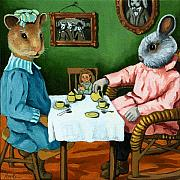 Linda Apple Painting Prints - The Easter Tea Party Print by Linda Apple