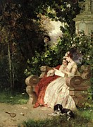 Flirting Posters - The Eavesdropper Poster by Carl Heinrich Hoff