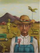 Grant Wood Paintings - The Eccentric Farmer by Leah Saulnier The Painting Maniac