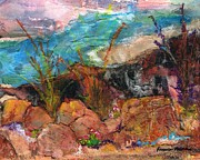 Media Painting Originals - The Edge of the Cliff by Frances Marino