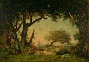 Cattle Painting Posters - The Edge of the Forest at Fontainebleau Poster by Theodore Rousseau