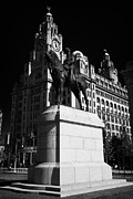 Liverpool Prints - The Edward VII 7th statue in front of the Royal Liver building one of liverpools three graces listed Print by Joe Fox