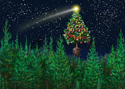 Constellations Posters - The Egregious Christmas Tree Classic Landscape Poster by Russell Kightley