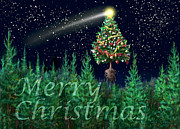 Constellations Digital Art - The Egregious Merry Christmas Tree Landscape  by Russell Kightley
