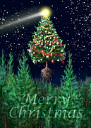 Constellations Posters - The Egregious Merry Christmas Tree Portrait Poster by Russell Kightley