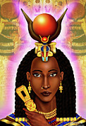 Hathor Digital Art Metal Prints - The Egyptian Goddess of Love Hathor Metal Print by Emhotep Richards