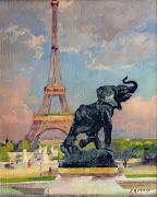 Parisian Paintings - The Eiffel Tower and the Elephant by Fremiet by Jules Ernest Renoux