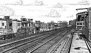 Chicago Drawings Prints - The El at Wrigley Print by Bruce Kay