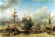 Netherlands Paintings - The Embarkation of Ruyter and William de Witt in 1667 by Louis Eugene Gabriel Isabey