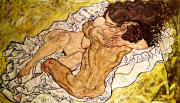 Male Posters - The Embrace Poster by Egon Schiele