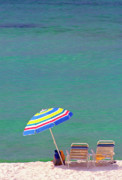 Beach Chairs Prints - The Emerald Coast with Beach Chairs Print by Thomas R Fletcher