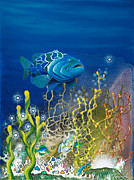 Scuba Paintings - The Emerald Grouper by Lee Pantas