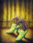 Surrealistic Painting Originals - The Emerald Ships by Lolita Bronzini