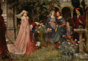 Raphaelite Framed Prints - The Enchanted Garden Framed Print by John William Waterhouse
