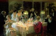 Oil Lamp Paintings - The End of Dinner by Jules Alexandre Grun