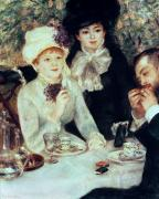 Coffee Drinking Painting Prints - The End of Luncheon Print by Pierre Auguste Renoir