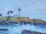 Cape Neddick Lighthouse Painting Metal Prints - The End of Summer- Cape Neddick Maine Metal Print by Alicia Drakiotes