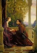 Romantic   Of Couple Paintings - The End of the Quest by Sir Frank Dicksee