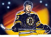 Hockey Drawings Acrylic Prints - The Enforcer  Acrylic Print by Dave Olsen