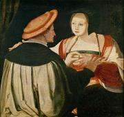 Netherlands Paintings - The Engagement by Lucas van Leyden