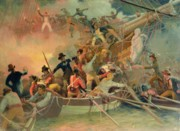 Cannon Paintings - The English navy conquering a French ship near the Cape Camaro by English School