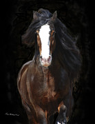 Gypsy Stallion Posters - The English Shire as Art Poster by Terry Kirkland Cook