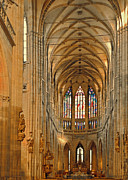 Vaults Posters - The enormous interior of St. Vitus Cathedral Prague Poster by Christine Till