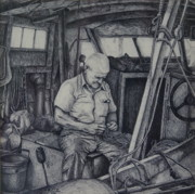 Fishermen Drawings - The Entanglement by Barry Alan Victor