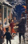 Christmas Card Painting Acrylic Prints - The Entertainer  Acrylic Print by Percy Tarrant