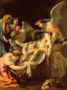 Religious Paintings - The Entombment by Simon Vouet