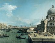 Gondolier Painting Prints - The Entrance to the Grand Canal and the church of Santa Maria della Salute Print by Canaletto