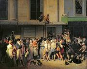 Free Painting Metal Prints - The Entrance to the Theatre before a Free Performance Metal Print by Louis Leopold Boilly