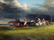 Racehorse Paintings - The Epsom Derby by Theodore Gericault