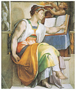 Buonarroti Painting Metal Prints - The Erythraean Sibyl Metal Print by Michelangelo Buonarroti