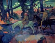 Horseback Riding Framed Prints - The Escape Framed Print by Paul Gauguin