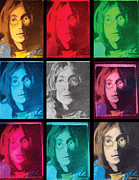 Beatles Pastels Prints - The Essence of Light- John Lennon Print by Jimi Bush