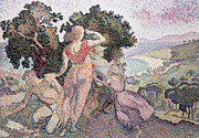 The Hills Framed Prints - The Excursionists Framed Print by Henri-Edmond Cross