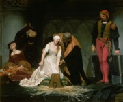 Grey Painting Prints - The Execution of Lady Jane Grey Print by Hippolyte Delaroche