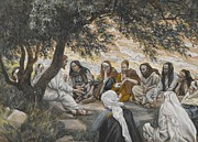 Father Paintings - The Exhortation to the Apostles by Tissot