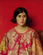 Textile Framed Prints - The Exile - Heavy is the Price I Paid for Love Framed Print by Thomas Cooper Gotch